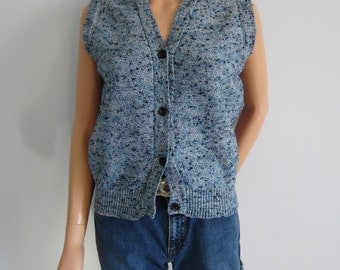 Blue sweater vest, french vintage, wool knit top, sleeveless cardigan pullover, knitted waistcoat, small medium