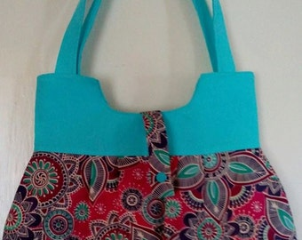 Cerise Henna Handbag with Turquoise