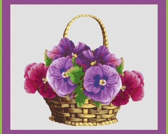Pansies In The Basket Counted Cross Stitch Pattern in PDF for Instant Download