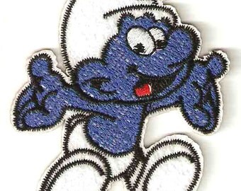 Happy Smurf Embroidered Smurf Village Iron On / Sew On Patch