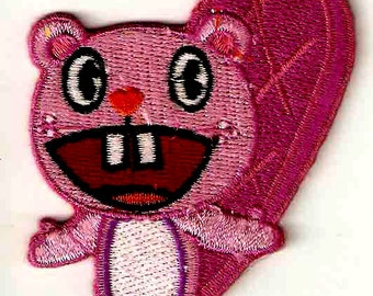 TOOTHY purple mauve BEAVER in Happy Tree Friends Cartoon Embroidered Iron On / Sew On Patch