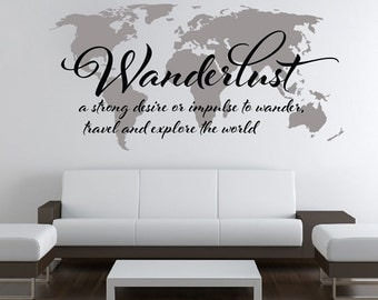Wanderlust World Map Decal - Large World Map Vinyl Wall Sticker - World Map Wall Sticker