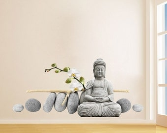 Buddha Meditating Sticker - Buda with Zen Stones Stickers - Realistic Decals - Ethnic Stickers - Zen Home Decor