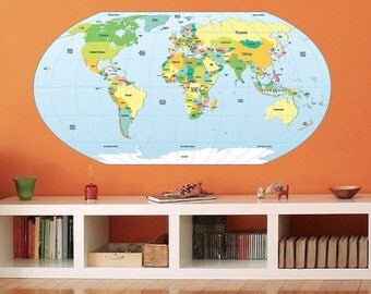 World Map Rouded Decal - Large World Map Vinyl Wall Sticker - World Map Wall Sticker