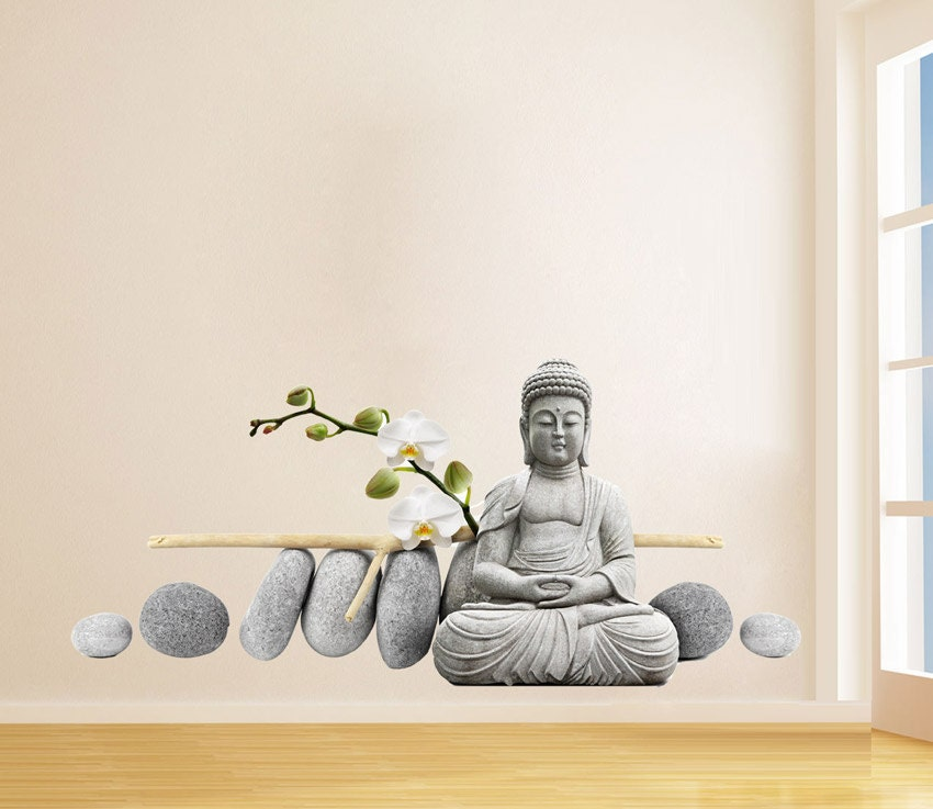 Buddha meditating sticker buda with zen stones stickers for Buddha decorations for the home