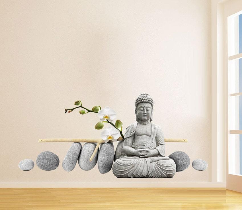 Buddha Meditating Sticker Buda With Zen Stones Stickers
