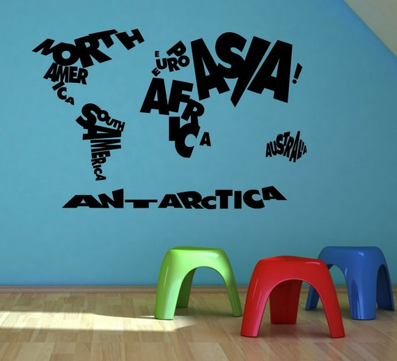enfant enfants enfants monde carte atlas mur autocollant. Black Bedroom Furniture Sets. Home Design Ideas