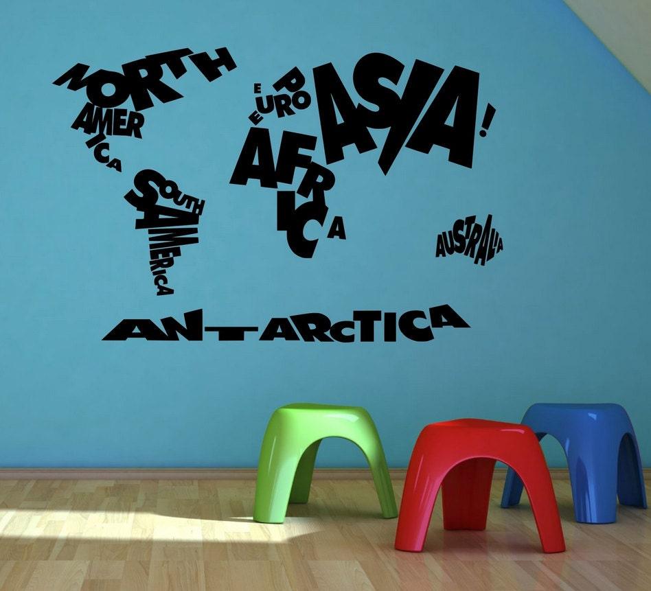 enfant enfants enfants monde carte atlas mur autocollant. Black Bedroom Furniture Sets. Home Design Ideas