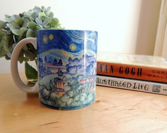 Coffee Mug, Cornell University, Art, Ithaca NY, Mug, Starry Night Watercolor by Cheryl Chalmers