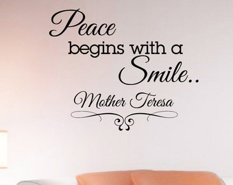 Wall Decals Quotes Mother Teresa Peace Begins With A Smile Decal Lettering Stickers Home Decor Art Mural Z785