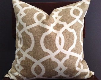 Pillow Cover, Tan and Ivory Pillow Cover, RORY
