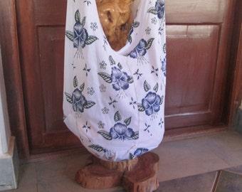 Indian cotton bag, crossbody bag, hobo bag, long shoulder bag,light coloured bag,flower printed bag,medium sized bag,travel school bag.ag,