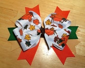 """CLEARANCE - Thanksgiving Fall Hair Bow - 5"""" Handmade Stacked Boutique Bow on Clip - Fall Leaves Pumpkins - Orange, Brown, Beige, Green"""