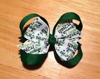 """Saint Patrick's Day Stacked Pinwheel Boutique Hair Bow - 3.25"""" St. Patrick's Day Bow - Before you Pinch Me Remember I Have Brothers"""
