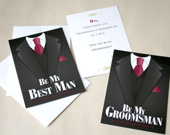 Will You Be My Best Man, Groomsman?, Time To Suit Up | Wedding Party Attendee, Invitation Flat Card and Envelope | Custom Wording and Colors