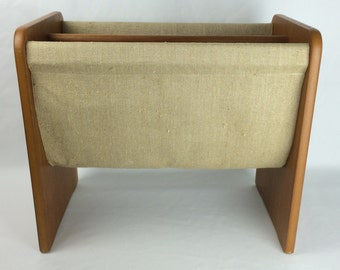 Wood & Fabric Magazine Rack by Mobler Made In Denmark