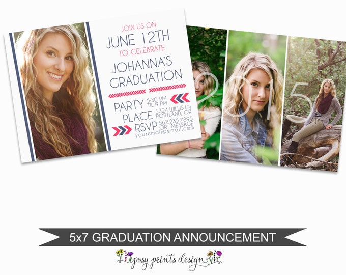 Graduation Announcement Template - 5x7 Digital Photography Photoshop Files - Template for Photographers - GC02 - INSTANT DOWNLOAD