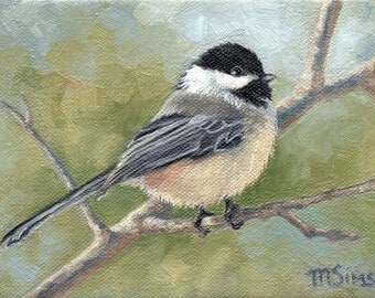 Chickadee - bird painting - wildlife painting - Open edition print