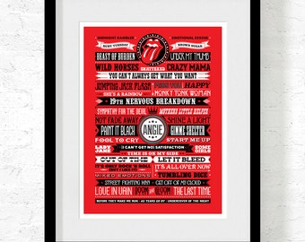 Typographic Art Print: Rolling Stones Songs