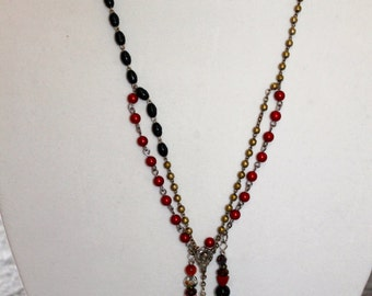 necklace made with vintage rosaries