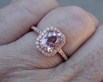 Rose Gold 1.0 Carat Morganite Diamond Ring 14K Rose Gold Ring Morganite with Diamond Halo