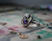 Vintage Steampunk Ring. Steam Punk Purple, Swarovski. watch steampunk vintage.