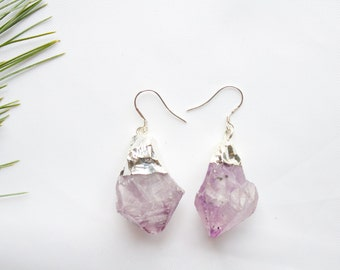 Monte Rosa Earrings | Amethyst, Druzy, Silver, Dangle