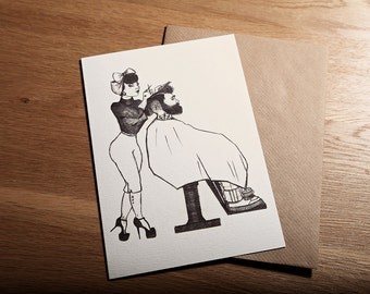 Rockabilly, Pin Up, Greeting Card, Art Print 'The Hairdresser' *Free UK postage*