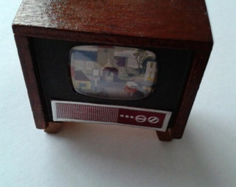Vintage Doll House Television Console