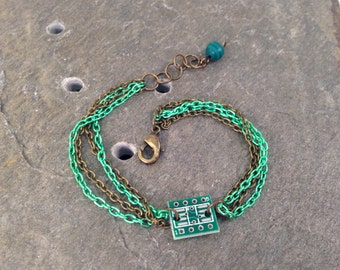 Antique Bronze & Green Stackable Multi Chain Bracelet with Tiny Reclaimed Upcycled Circuit Board Charm, Adjustable from 7 to 8 inches