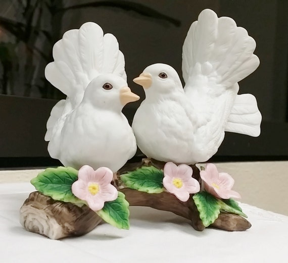 White doves homco retired vintage home interior porcelain Home interiors figurines homco