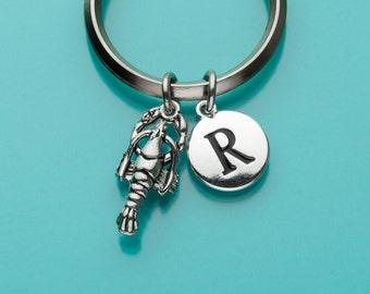 Lobster Keychain, Lobster Key Ring, Sea Creature, Initial Keychain, Personalized Keychain, Custom Keychain, Charm Keychain, 241