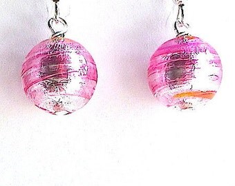 100% Murano Glass Earrings with sterling silver wires