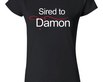 Printed Black T-shirt for Fans of Vampire Diaries, Damon, Stefan, Vampires