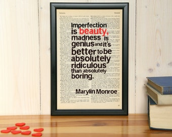 Marylin Monroe quote - Imperfection is beauty - Marylin Monroe decor, bedroom decor, wall art, framed quote