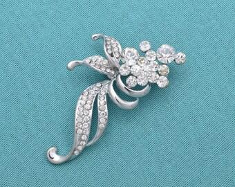 Rhinestone Wedding Brooch Silver Brooch Rhinestone Bridal Brooch Wedding Accessories