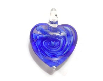 1 Blue Glass Heart Pendant With Blue Rose Swirl 29mm - Free Combined Shipping
