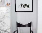 Je T'aime French Quote Print Fashion Wall Print Black and White - Minimal Scandi Design