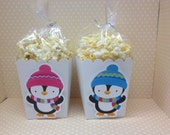 Penguin Winter Wonderland Party Popcorn or Favor Boxes - Set of 10