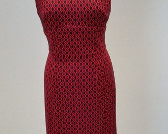 Shift Pencil Wiggle Shift Dress 1950s Style Vintage Mad Men Red/Navy Size 14 Ready To Ship