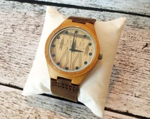 Wooden Wrist Watch -Personalized- Groomsmen gift -Accessories for Men - Fathers Day Gift -Best Man - Gifts for Men - FREE ENGRAVING! (MW4)