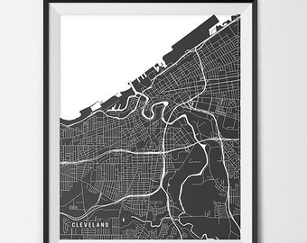 Cleveland Map Print, Cleveland Poster of Ohio Map of Cleveland Print Gift OH Cleveland Ohio Wall Art University Map Poster Dorm Decor