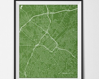 Charlotte Map Print, Charlotte Poster of North Carolina Map of Charlotte Print Gift, UNC Charlotte Print College Dorm Room Art