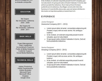 Professional Resume Template with Cover Letter | Curriculum Vitae (CV) for Microsoft Word | DIY Printable Word Doc |  The Ava