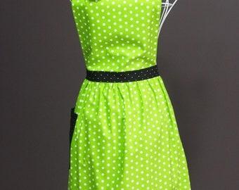 Womens Retro Apron Green Polkadot - Full Length