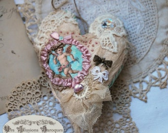 "Jewelry wall or door, big textile heart - ""Ange shabby"" ivory and beige"