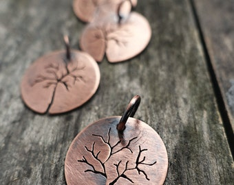 Circle Hand Sawn Copper Tree Pendant