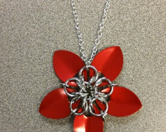 Red Scale Maille Flower Necklace