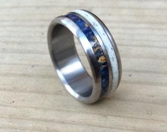 titanium ring deer antler ring wood ring wedding ring personalized ring - Deer Antler Wedding Rings