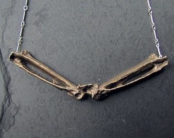 Bronze and Sterling Silver Double Bone Necklace